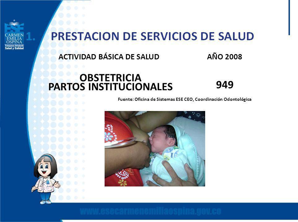 ACTIVIDAD BÁSICA DE SALUD AÑO 2008 PARTOS INSTITUCIONALES