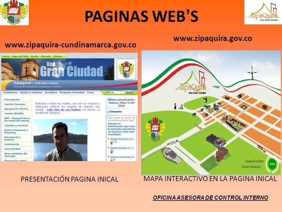 PAGINAS WEB'S www.zipaquira.gov.co www.zipaquira-cundinamarca.gov.co