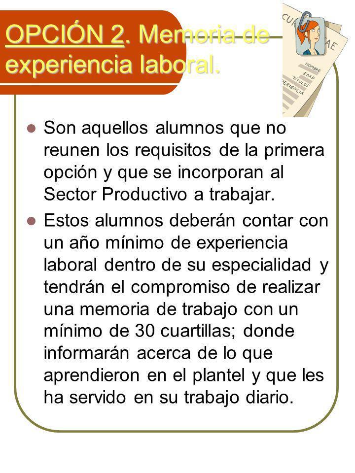 OPCIÓN 2. Memoria de experiencia laboral.