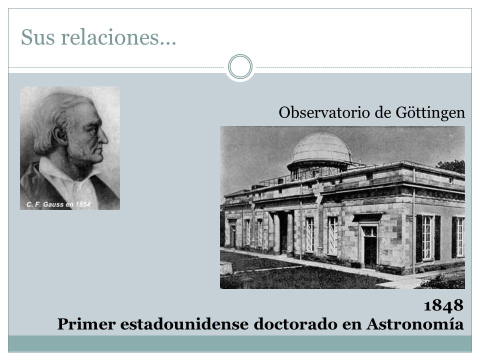 Sus relaciones… Observatorio de Göttingen 1848