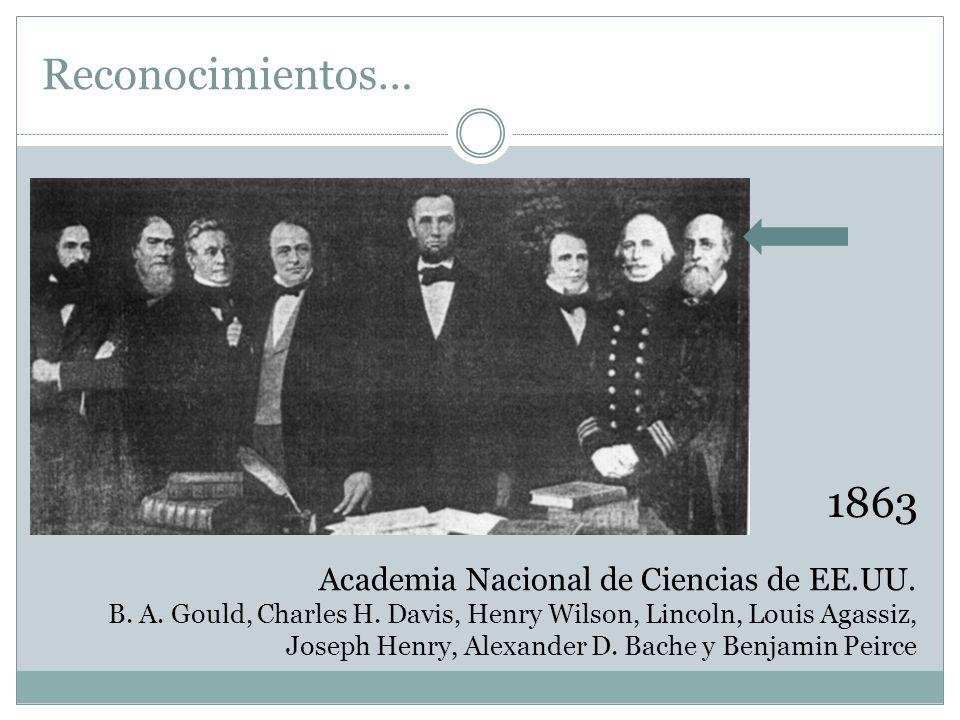 Reconocimientos… 1863 Academia Nacional de Ciencias de EE.UU.