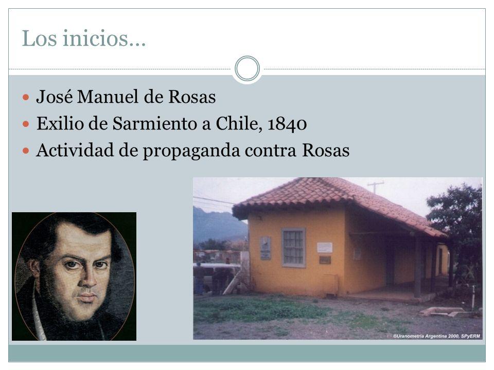Los inicios… José Manuel de Rosas Exilio de Sarmiento a Chile, 1840