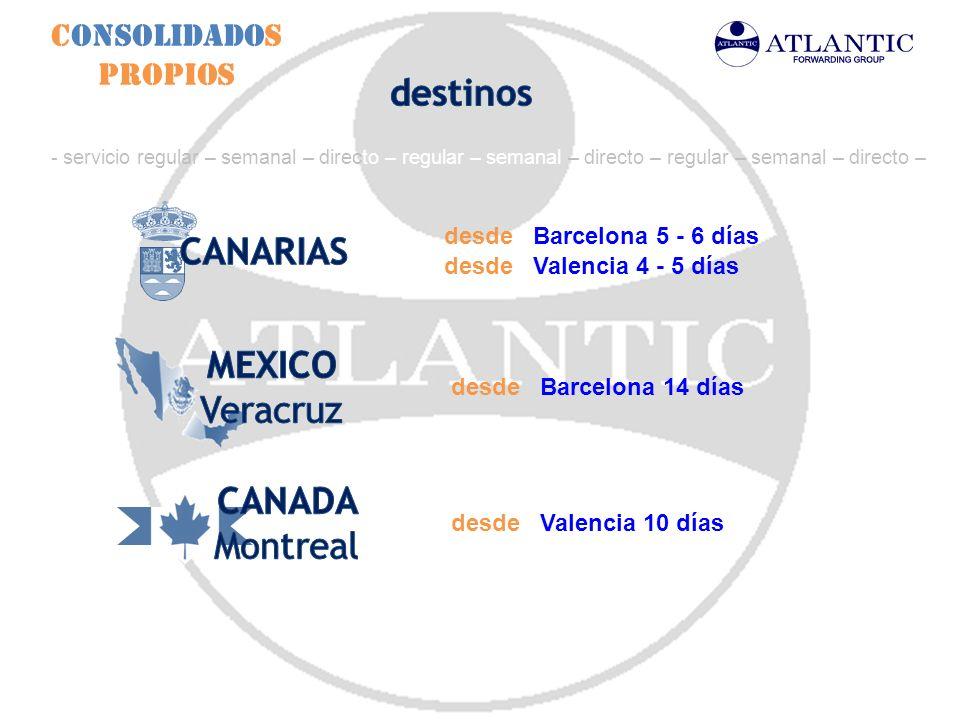 destinos CANARIAS MEXICO Veracruz CANADA Montreal Consolidados Propios