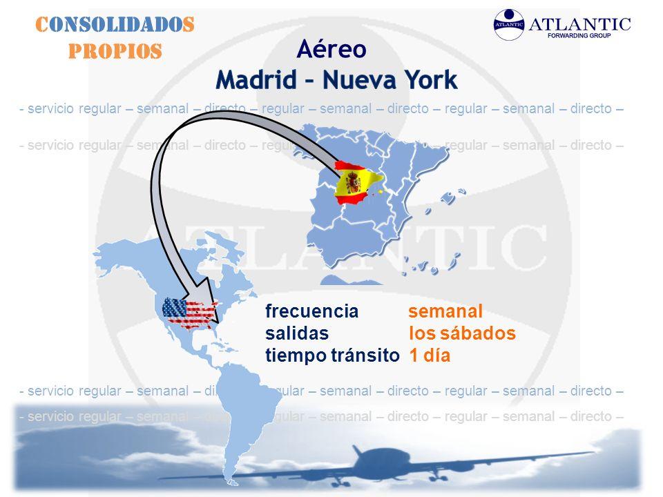 Aéreo Madrid – Nueva York Consolidados Propios frecuencia semanal