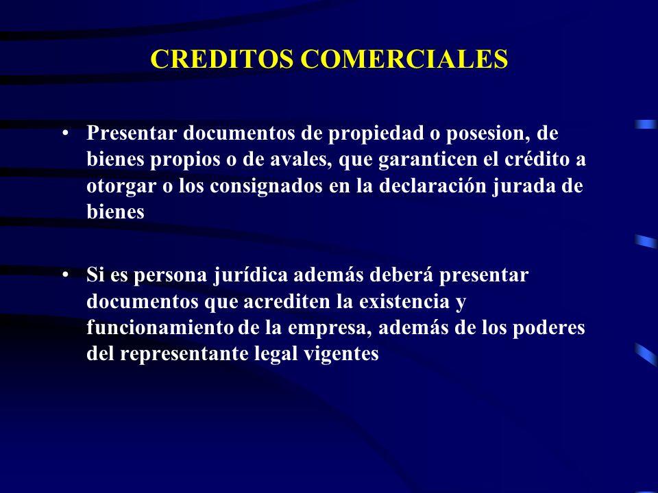 CREDITOS COMERCIALES