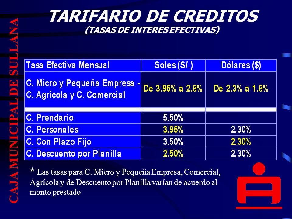 TARIFARIO DE CREDITOS (TASAS DE INTERES EFECTIVAS)