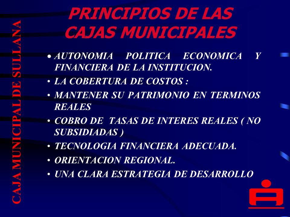 PRINCIPIOS DE LAS CAJAS MUNICIPALES