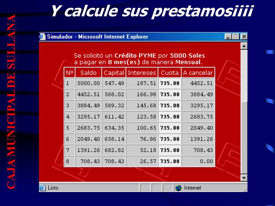 Y calcule sus prestamos¡¡¡¡ CAJA MUNICIPAL DE SULLANA