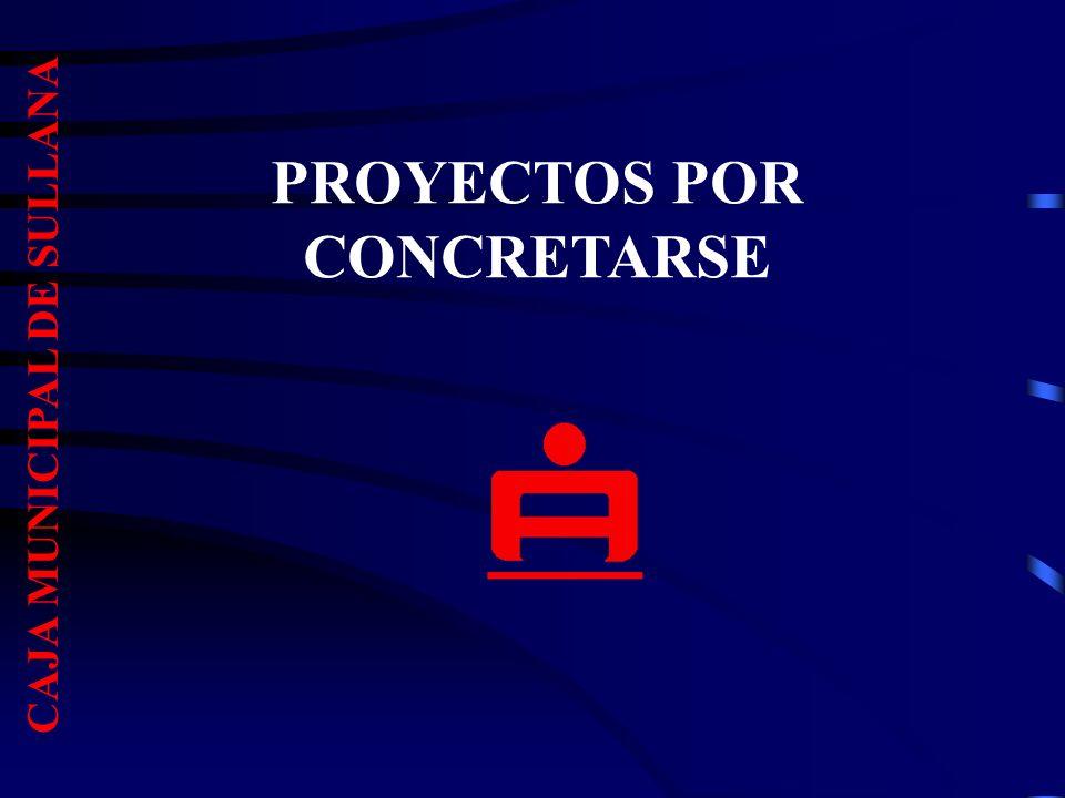 PROYECTOS POR CONCRETARSE CAJA MUNICIPAL DE SULLANA