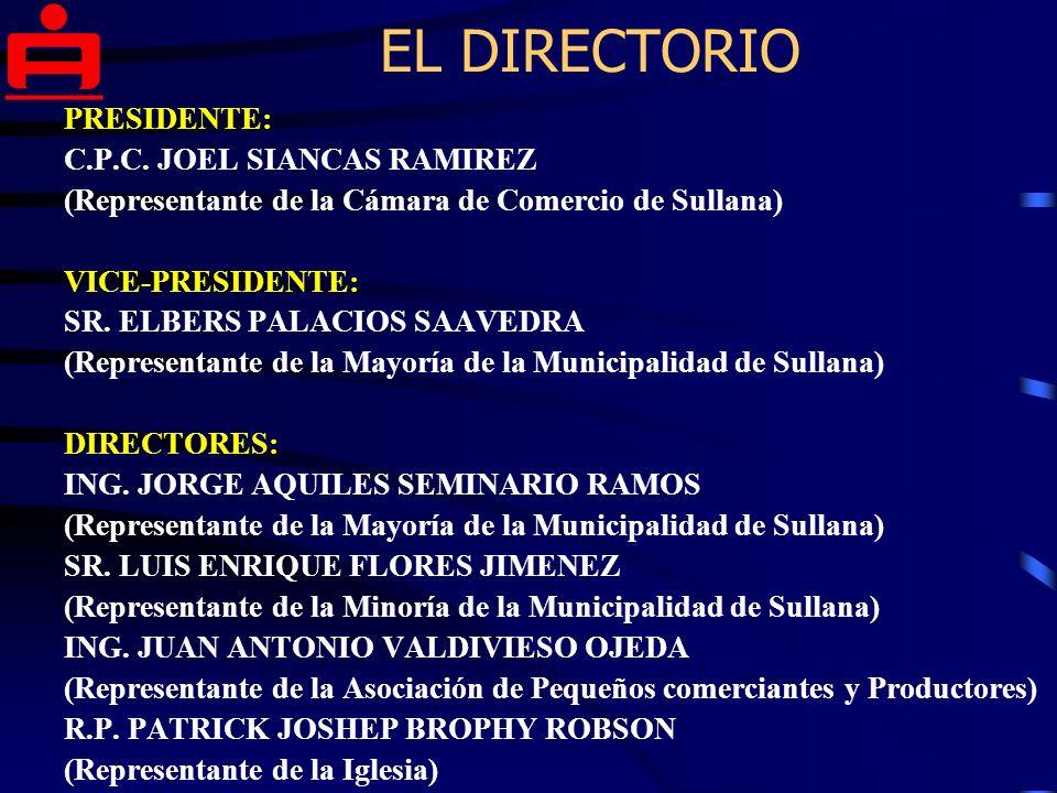 EL DIRECTORIO PRESIDENTE: C.P.C. JOEL SIANCAS RAMIREZ
