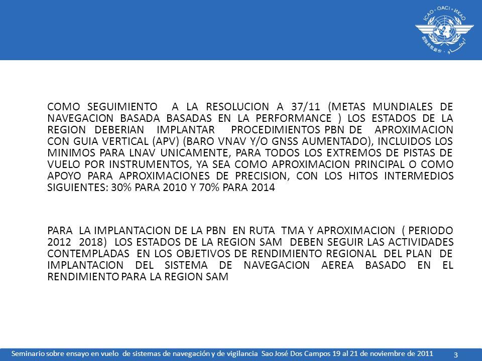 COMO SEGUIMIENTO A LA RESOLUCION A 37/11 (METAS MUNDIALES DE NAVEGACION BASADA BASADAS EN LA PERFORMANCE ) LOS ESTADOS DE LA REGION DEBERIAN IMPLANTAR PROCEDIMIENTOS PBN DE APROXIMACION CON GUIA VERTICAL (APV) (BARO VNAV Y/O GNSS AUMENTADO), INCLUIDOS LOS MINIMOS PARA LNAV UNICAMENTE, PARA TODOS LOS EXTREMOS DE PISTAS DE VUELO POR INSTRUMENTOS, YA SEA COMO APROXIMACION PRINCIPAL O COMO APOYO PARA APROXIMACIONES DE PRECISION, CON LOS HITOS INTERMEDIOS SIGUIENTES: 30% PARA 2010 Y 70% PARA 2014