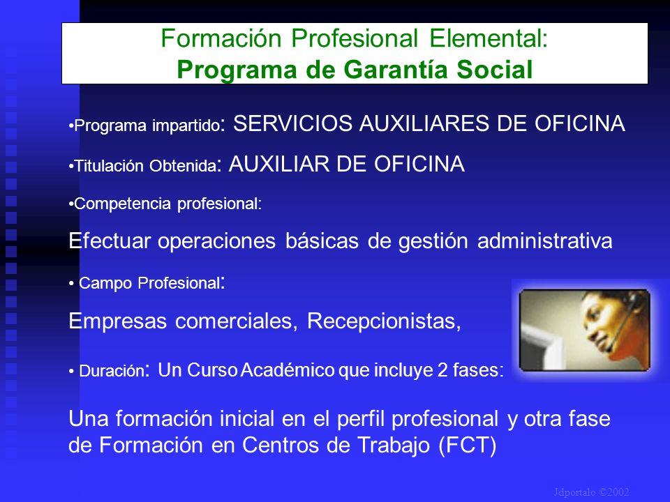 Formación Profesional Elemental: Programa de Garantía Social