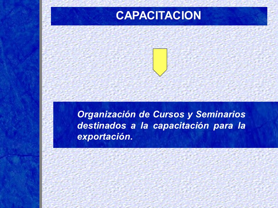 CAPACITACIONOrganización de Cursos y Seminarios destinados a la capacitación para la exportación.