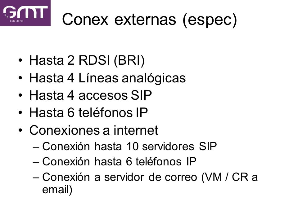 Conex externas (espec)