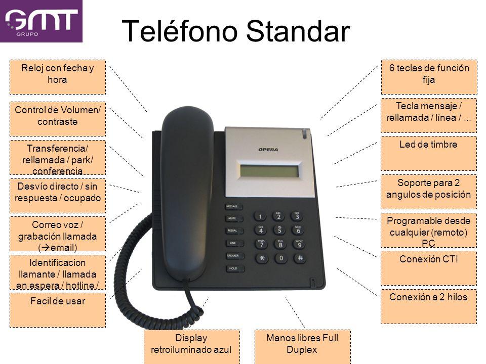 Teléfono Standar Reloj con fecha y hora 6 teclas de función fija