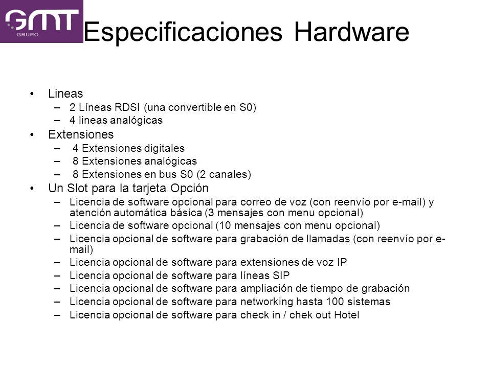 Especificaciones Hardware