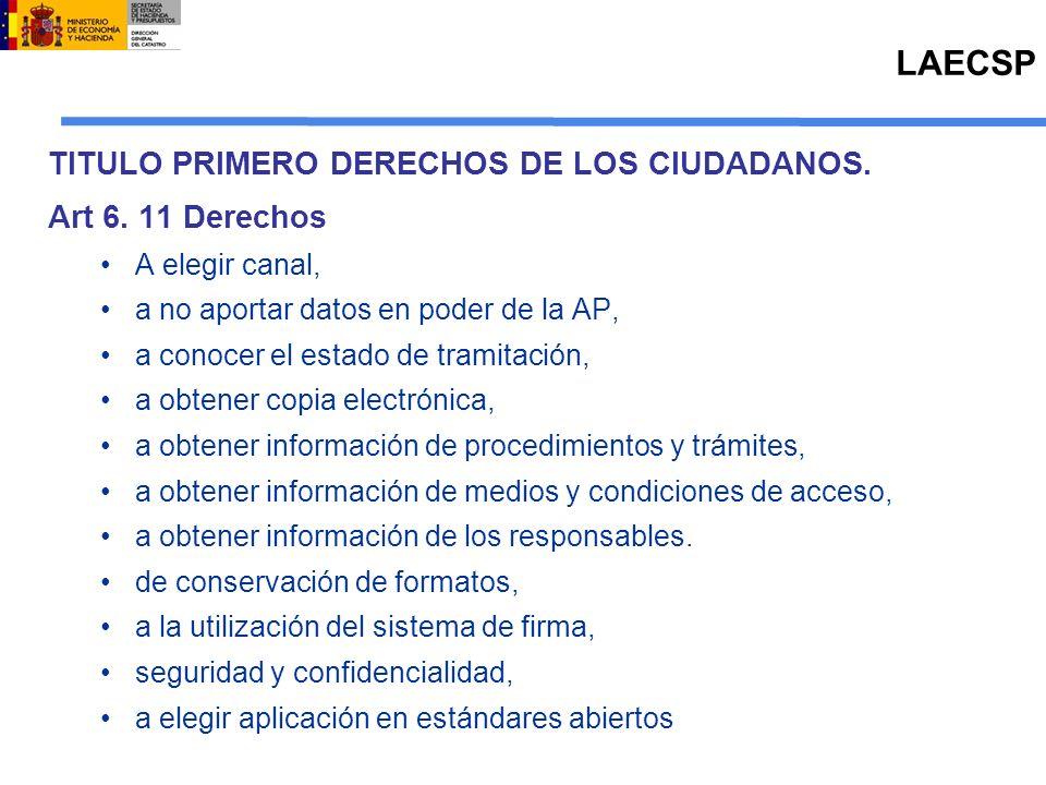 LAECSP TITULO PRIMERO DERECHOS DE LOS CIUDADANOS. Art 6. 11 Derechos