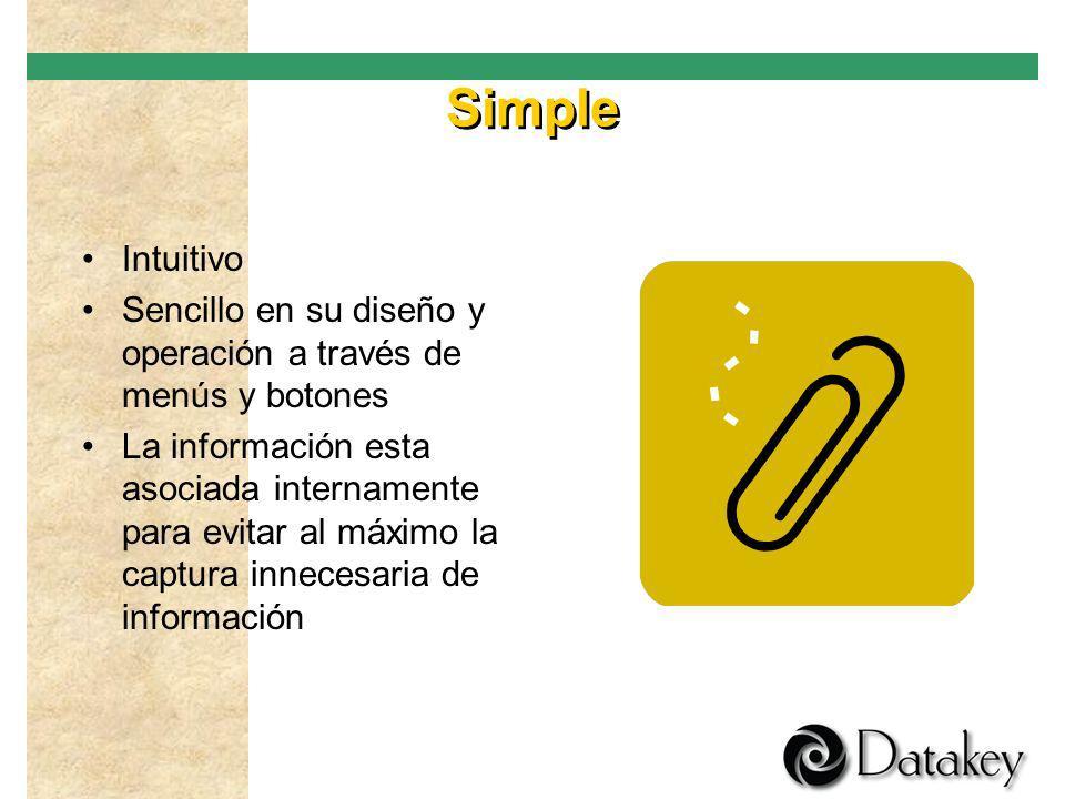 Simple Intuitivo. Sencillo en su diseño y operación a través de menús y botones.