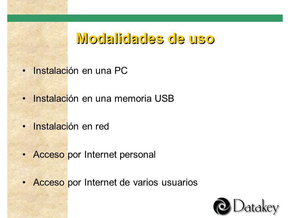 Modalidades de uso Instalación en una PC