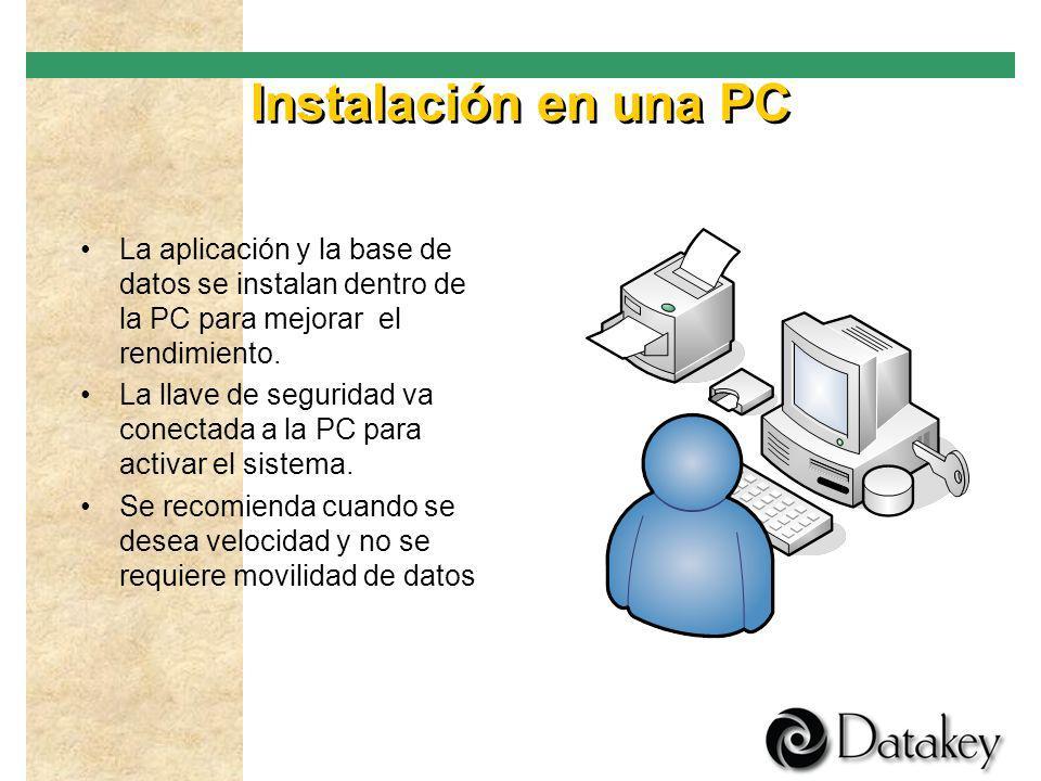 Instalación en una PC La aplicación y la base de datos se instalan dentro de la PC para mejorar el rendimiento.