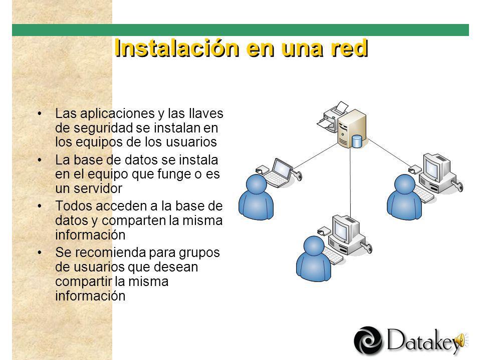 Instalación en una red Las aplicaciones y las llaves de seguridad se instalan en los equipos de los usuarios.