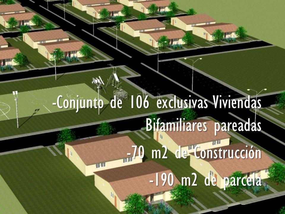 -Conjunto de 106 exclusivas Viviendas Bifamiliares pareadas