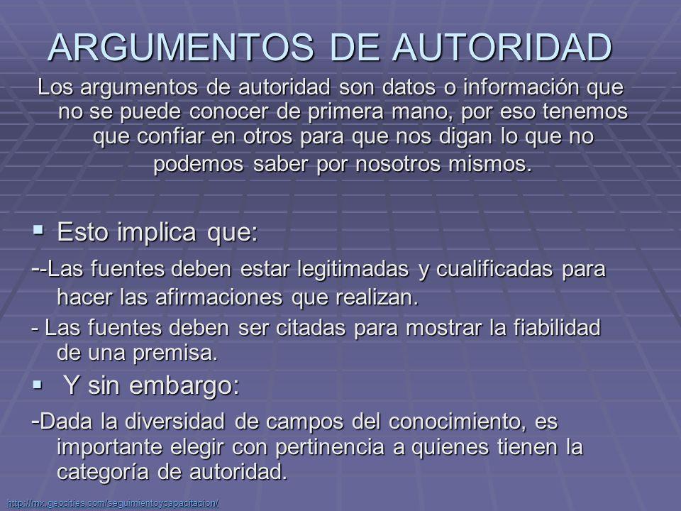 ARGUMENTOS DE AUTORIDAD