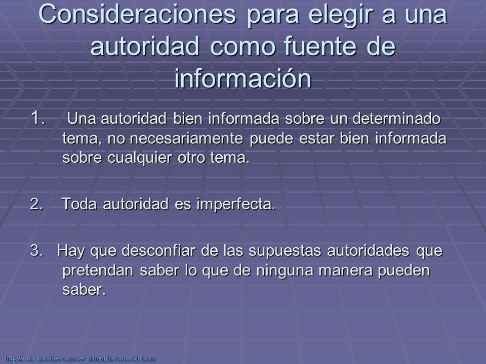 Consideraciones para elegir a una autoridad como fuente de información