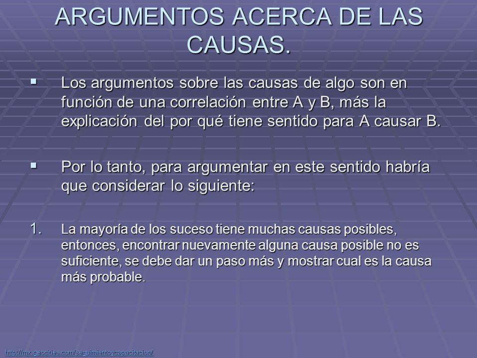 ARGUMENTOS ACERCA DE LAS CAUSAS.