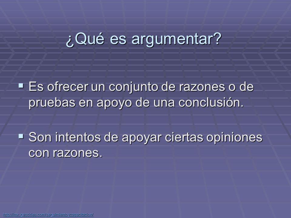 ¿Qué es argumentar Es ofrecer un conjunto de razones o de pruebas en apoyo de una conclusión. Son intentos de apoyar ciertas opiniones con razones.