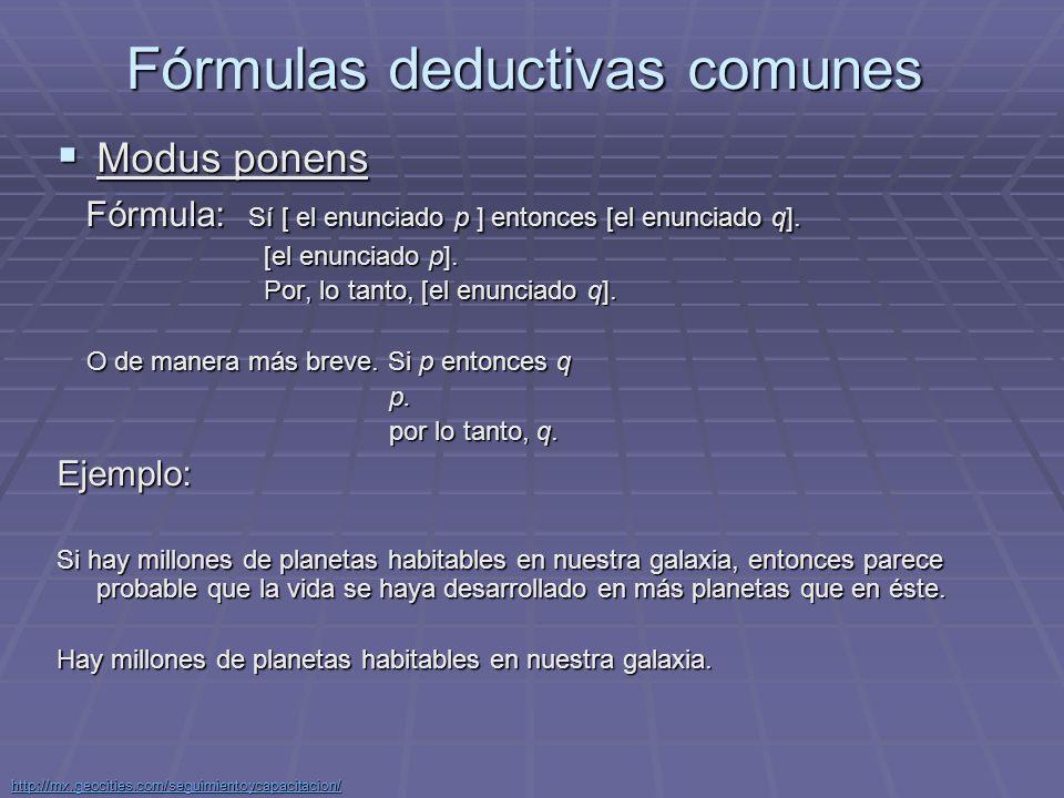 Fórmulas deductivas comunes