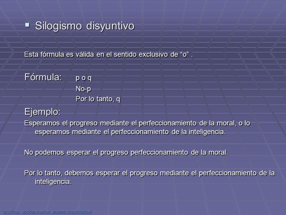 Silogismo disyuntivo Fórmula: p o q Ejemplo: