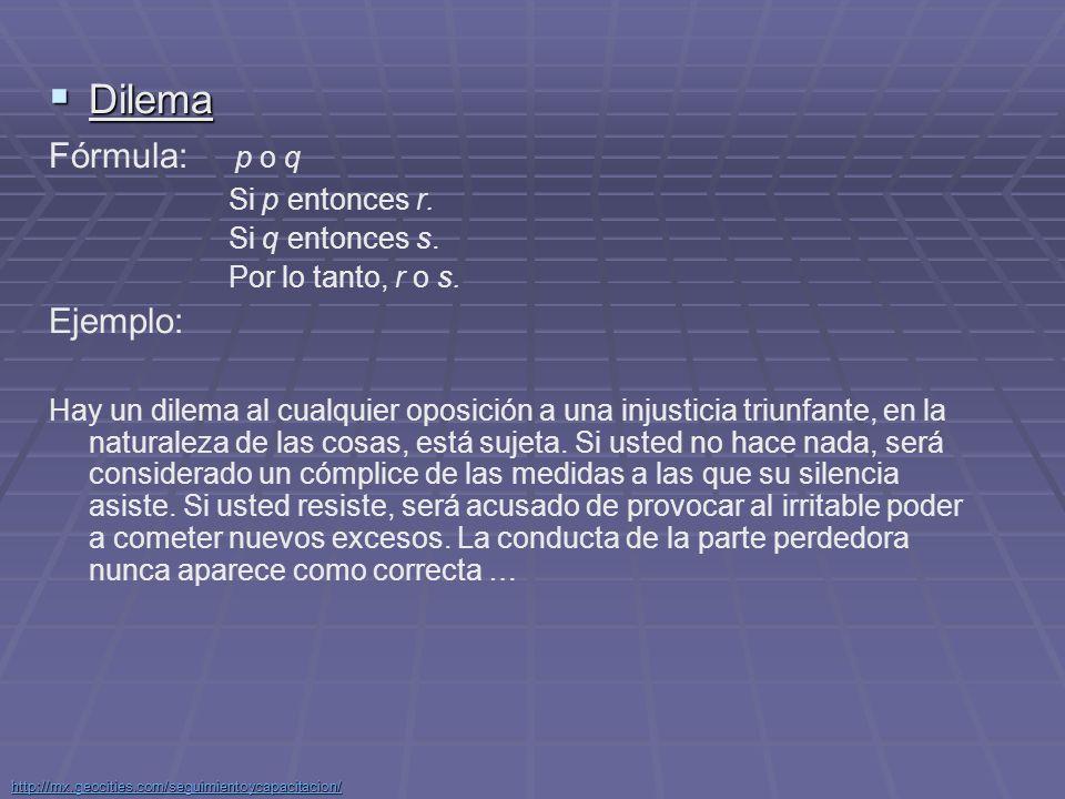 Dilema Fórmula: p o q Ejemplo: Si p entonces r. Si q entonces s.
