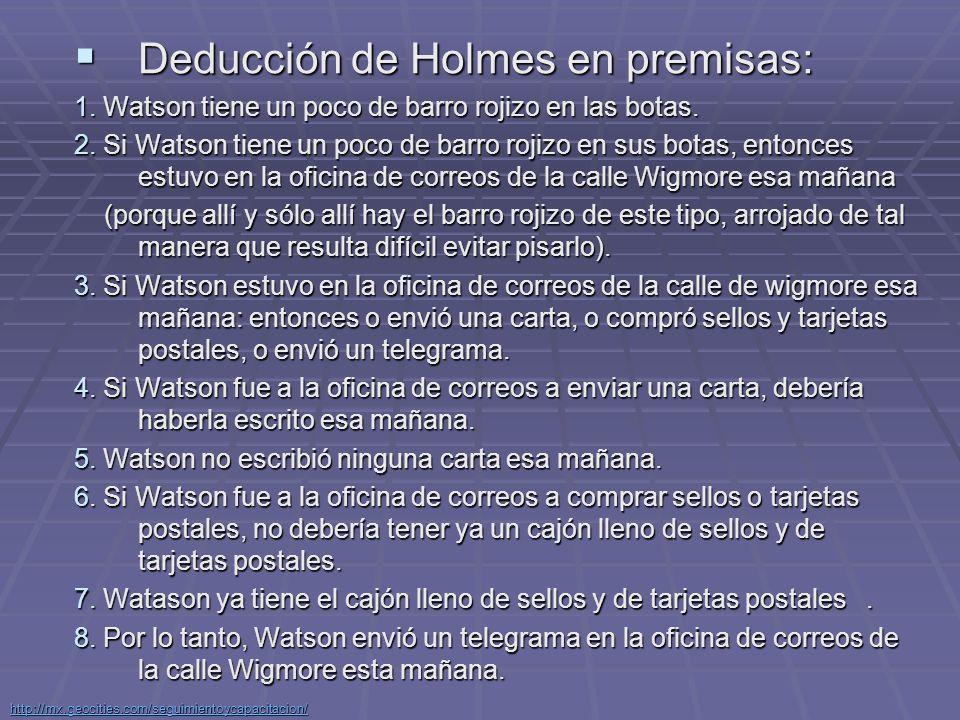Deducción de Holmes en premisas: