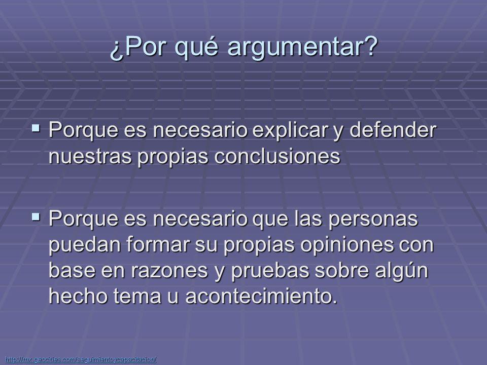 ¿Por qué argumentar Porque es necesario explicar y defender nuestras propias conclusiones.