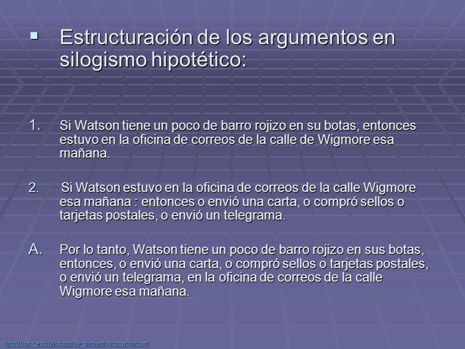 Estructuración de los argumentos en silogismo hipotético: