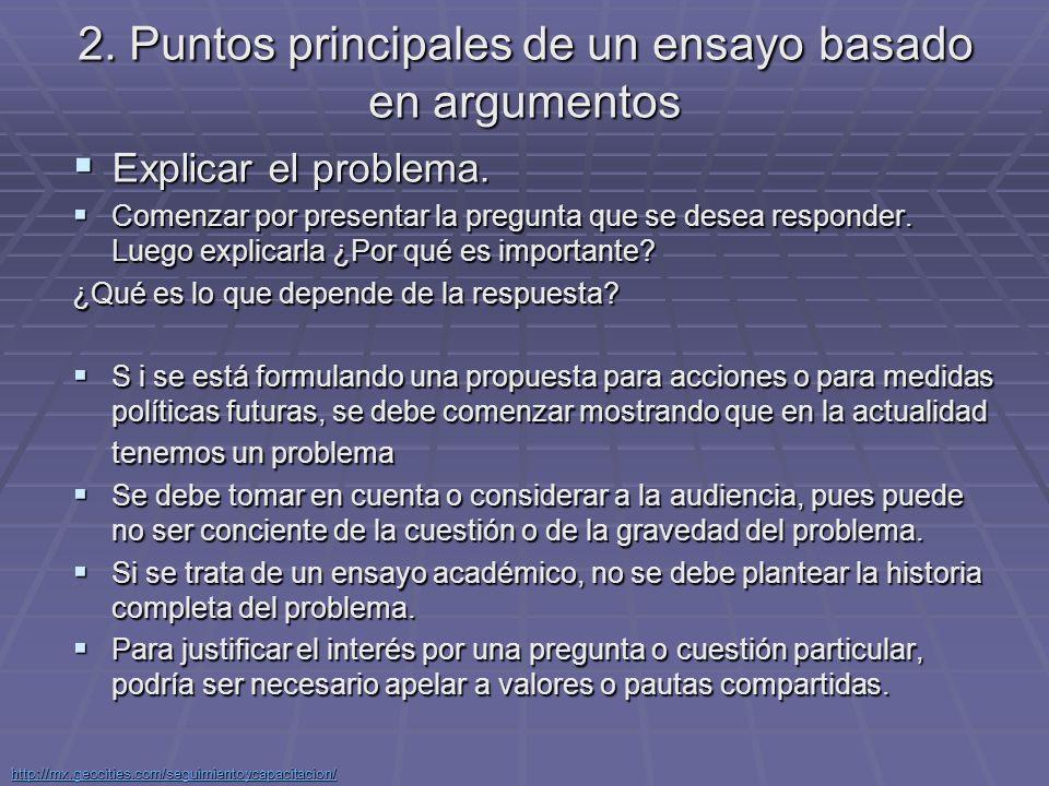 2. Puntos principales de un ensayo basado en argumentos