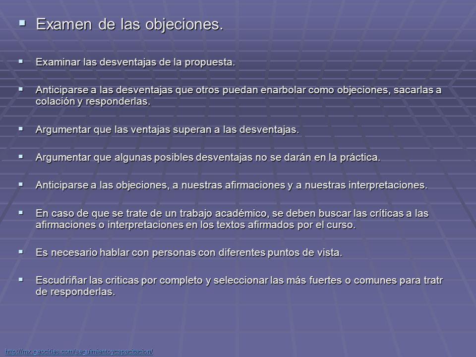 Examen de las objeciones.