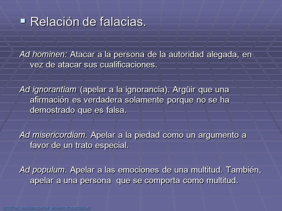 Relación de falacias. Ad hominen: Atacar a la persona de la autoridad alegada, en vez de atacar sus cualificaciones.