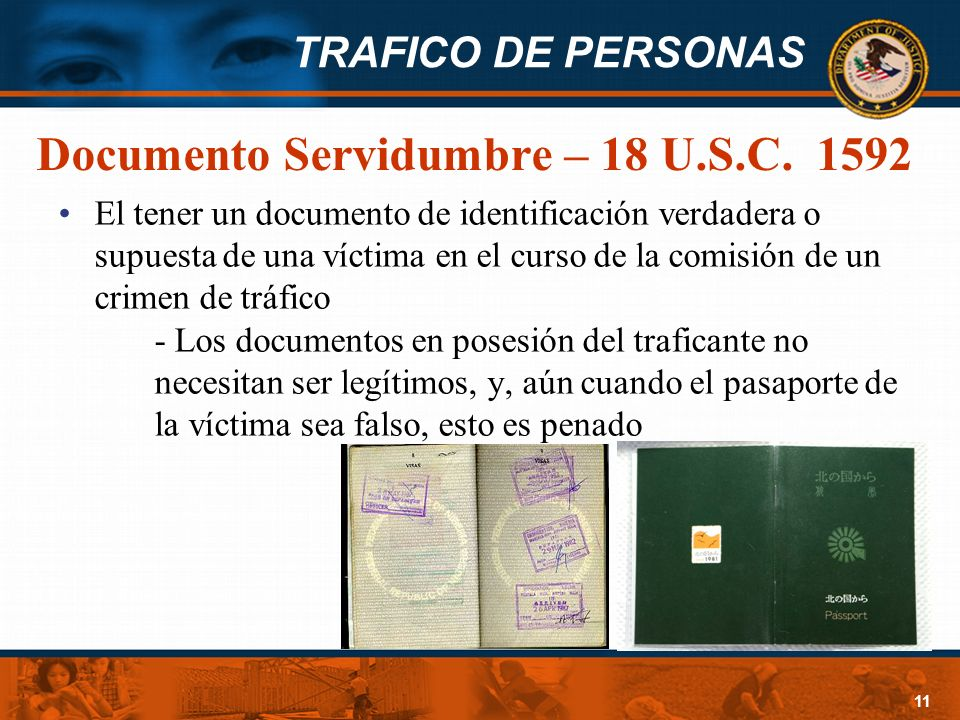 Documento Servidumbre – 18 U.S.C. 1592