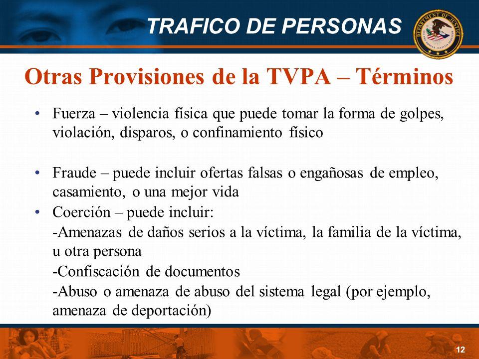 Otras Provisiones de la TVPA – Términos