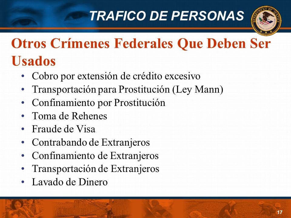Otros Crímenes Federales Que Deben Ser Usados