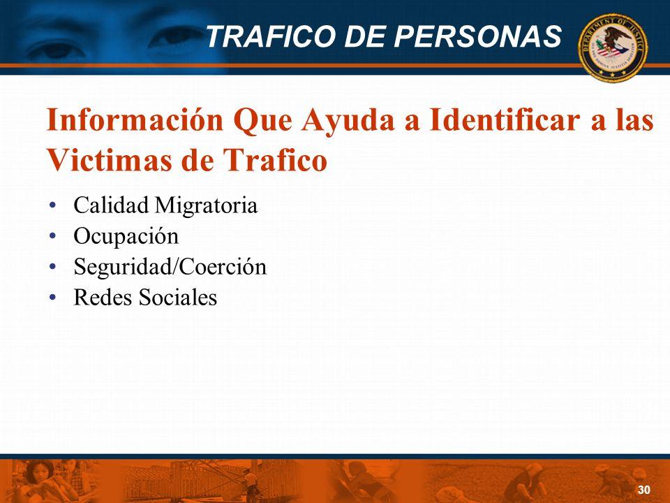 Información Que Ayuda a Identificar a las Victimas de Trafico