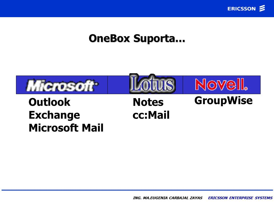 OneBox Suporta... Notes cc:Mail Outlook Exchange Microsoft Mail