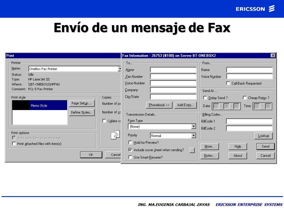 Envío de un mensaje de Fax