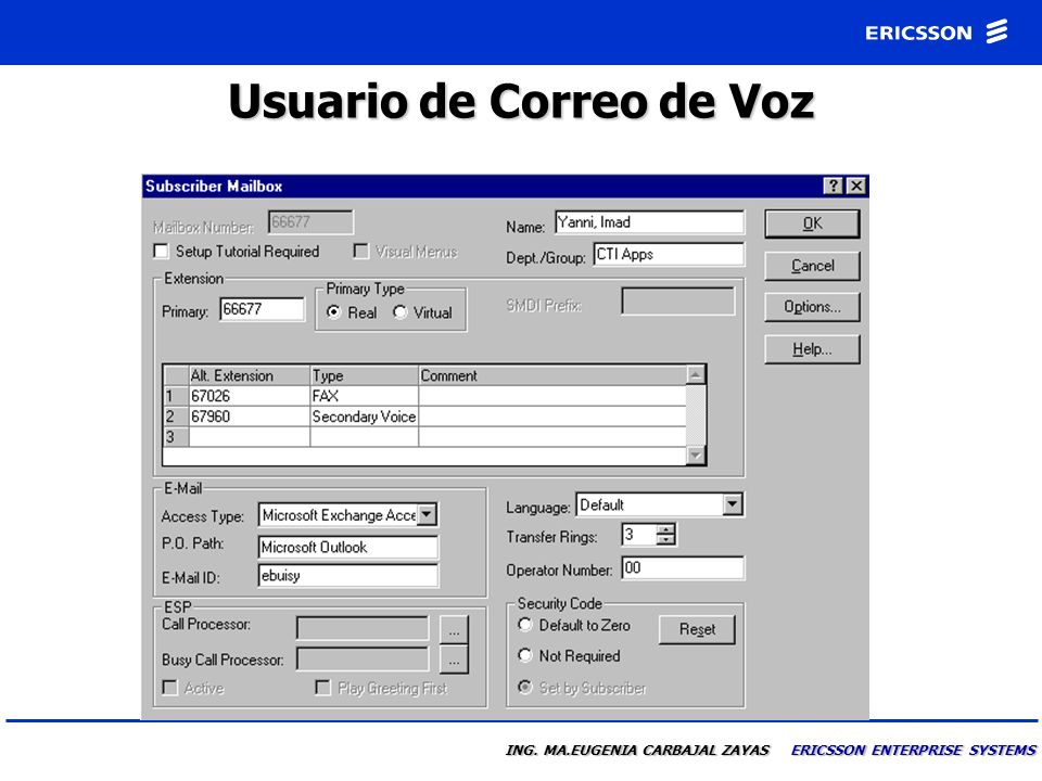 Usuario de Correo de Voz