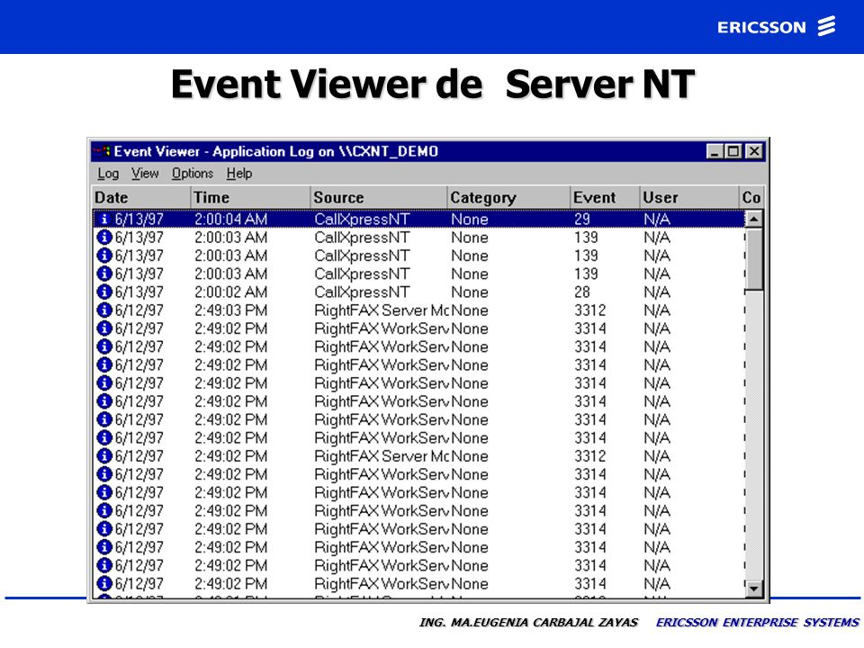 Event Viewer de Server NT