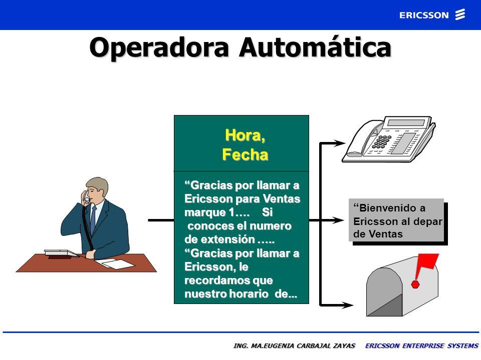 Operadora Automática Hora, Fecha Bienvenido a