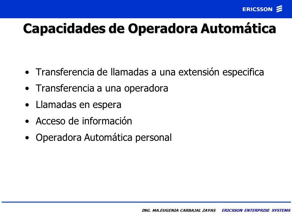 Capacidades de Operadora Automática