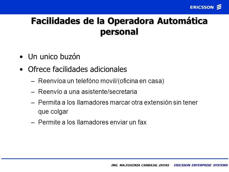 Facilidades de la Operadora Automática personal